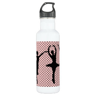 Ballerina silhouettes pink background 710 ml water bottle