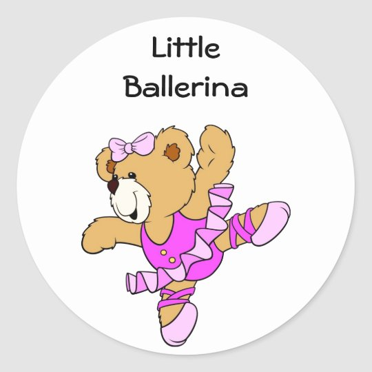 Ballerina Teddy Bear Classic Round Sticker