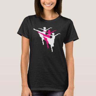 Ballerina trio silhouettes t-shirt pink white