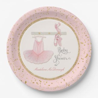 Ballerina Tutu Baby Girl Shower Script Typography Paper Plate