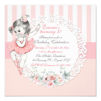 Ballerina Tutu Ballet Pink White Stripes Lace Card