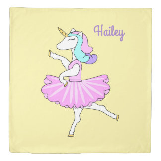 Ballerina unicorn pink dress yellow duvet cover
