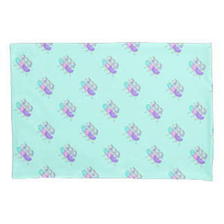 Ballerina unicorn print aqua purple pillowcases