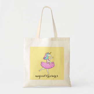 Ballerina unicorn yellow tote bag