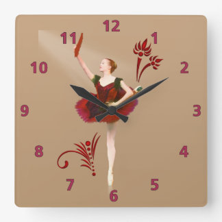 Ballerina With Fan Square Wall Clock