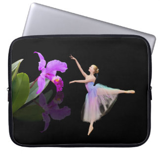 Ballerina with Orchid Flower Laptop Sleeves