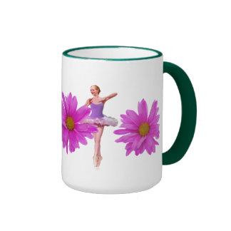 Ballerina with Pink Daisies Ringer Coffee Mug