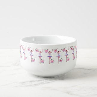 Ballerina with Pink Hibiscus Flowers  Customizable Soup Bowl With Handle