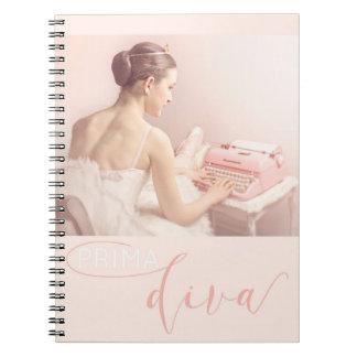 Ballerina with pink vintage typewriter spiral notebooks