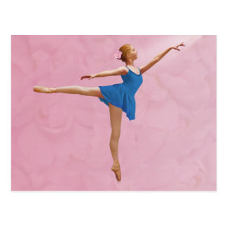 Ballerina with Rose in Arabesque Pose Postcard