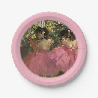 Ballerinas in Pink by Edgar Degas Paper Plate