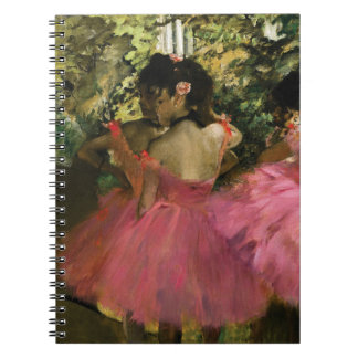 Ballerinas in Pink by Edgar Degas Spiral Notebook