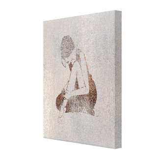 Ballerine Dancer Silver Gray Cement Wall Blush Pin Canvas Print