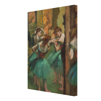 Ballet Artwork Dancers Pink and Green Edgar Degas Canvas Print