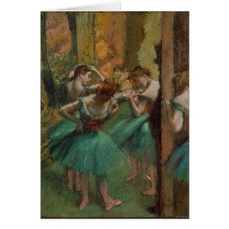 Ballet Artwork Dancers Pink and Green Edgar Degas Card