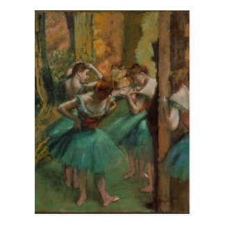 Ballet Artwork Dancers Pink and Green Edgar Degas Postcard