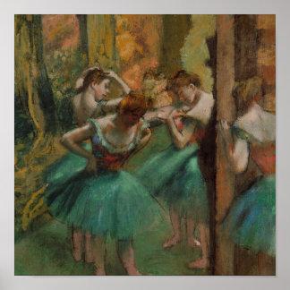Ballet Artwork Dancers Pink and Green Edgar Degas Poster