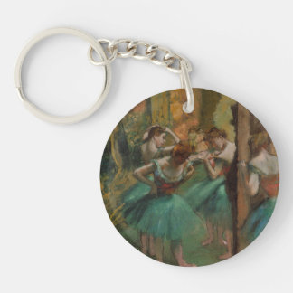 Ballet Artwork Dancers Pink and Green Edgar Degas Single-Sided Round Acrylic Keychain