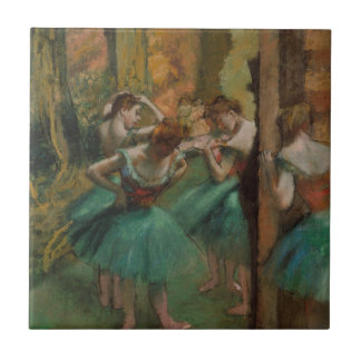 Ballet Artwork Dancers Pink and Green Edgar Degas Tile