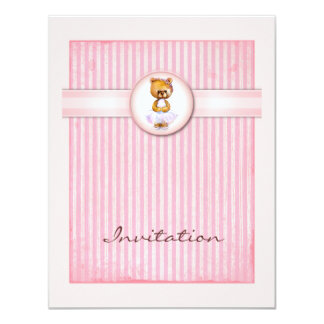 Ballet Bear Vintage Pink Candy Birthday Invitation