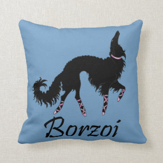 Ballet Borzoi Beauty In Black Throw Pillow