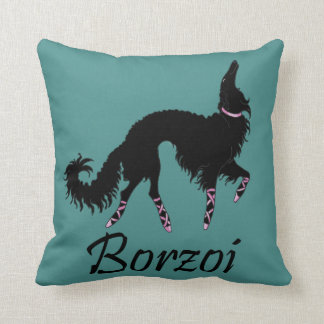 Ballet Borzoi Black-Teal Throw Pillow
