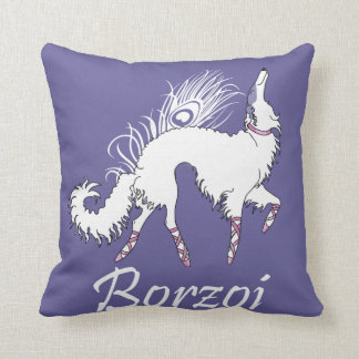 Ballet Borzoi White-Lavender Throw Pillow