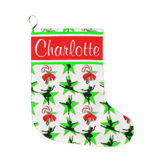 BALLET CANDY CANE PERSONALIZED CHRISTMAS STOCKING