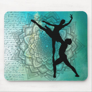 Ballet Couple Blue Mandala Vintage Text Mouse Pad