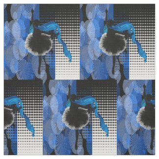 Ballet Dancer Blue Black And White Print Fabric