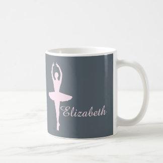 Ballet Dancer Pink and Gray Custom Coffee Mug