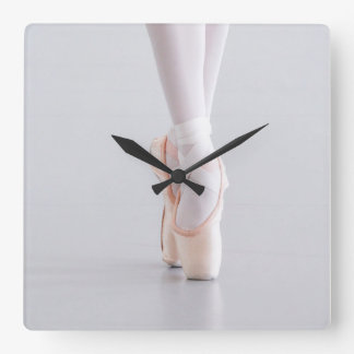Ballet Dancer Pointe Shoes Pink Slippers Square Wall Clock
