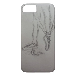 ballet dancer putting on pointe shoes phone case