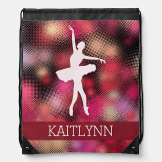 Ballet Dancer with a Bright Red Half-tone Drawstring Bag