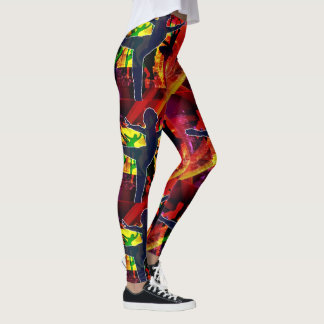Ballet Dancers on Multi Color Background Leggings