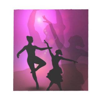 Ballet dancers pink artistic design notepad