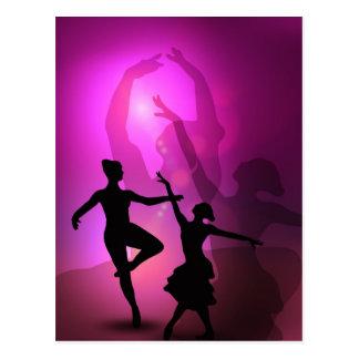 Ballet dancers pink artistic design postcard