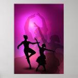 Ballet dancers pink artistic design print