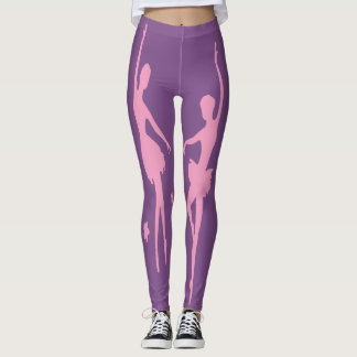 Ballet Dancers Pink  Silhouette On Any Color Leggings