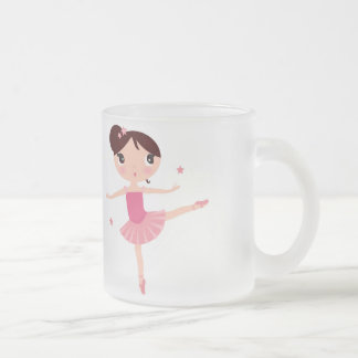 Ballet Dancing Girl in Pink Enjoying Glass Mug