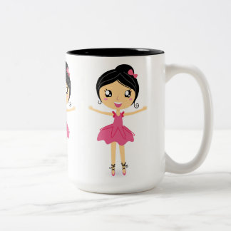 Ballet Dancing Girl in Pink Enjoying Two-Tone Mug