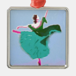 Ballet Dress Art Silver-Colored Square Ornament