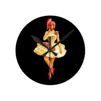 Ballet Hen Round Clock