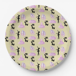 Ballet Pattern with Dance Attire and Ballerina 9 Inch Paper Plate