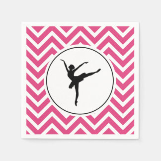 Ballet Pink White Chevron En Pointe Ballerina Paper Napkin
