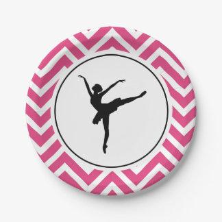 Ballet Pink White Chevron En Pointe Ballerina Paper Plate