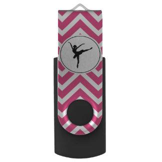 Ballet Pink White Chevron En Pointe Ballerina USB Flash Drive