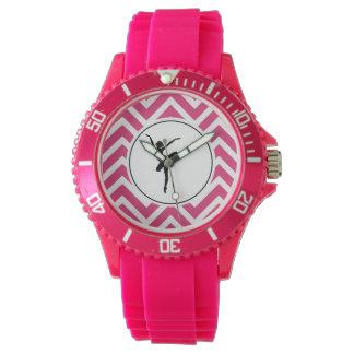 Ballet Pink White Chevron En Pointe Ballerina Watch