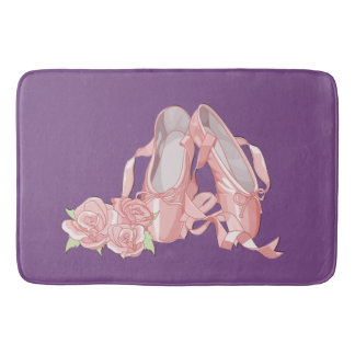 Ballet pointe shoes and roses bath mat