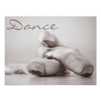 Ballet Pointe Shoes on Dance Floor Template Poster